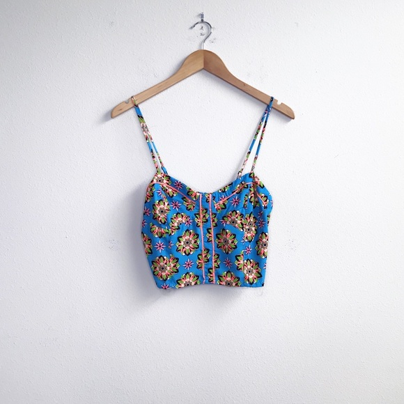 Flying Tomato Tops - Flying Tomato : Blue Floral Cropped Tank NWT